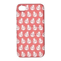 Coral And White Lady Bug Pattern Apple iPhone 4/4S Hardshell Case with Stand by creativemom