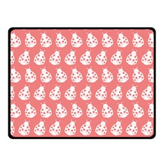 Coral And White Lady Bug Pattern Double Sided Fleece Blanket (small)  by creativemom
