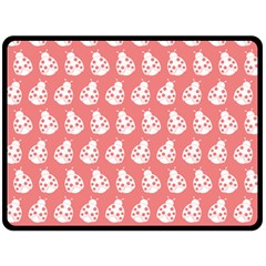 Coral And White Lady Bug Pattern Double Sided Fleece Blanket (Large)  by creativemom