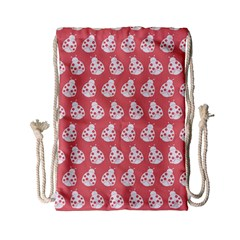 Coral And White Lady Bug Pattern Drawstring Bag (small) by creativemom