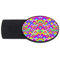 Colorful Trendy Chic Modern Chevron Pattern Usb Flash Drive Oval (4 Gb)  by creativemom