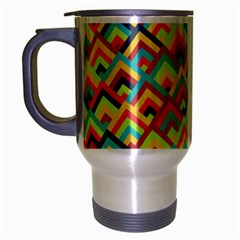Trendy Chic Modern Chevron Pattern Travel Mug (silver Gray) by creativemom