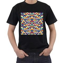 Trendy Chic Modern Chevron Pattern Men s T Shirt (black) by creativemom