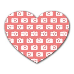Modern Chic Vector Camera Illustration Pattern Heart Mousepads by creativemom