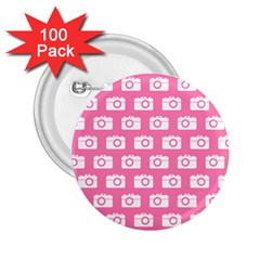 Pink Modern Chic Vector Camera Illustration Pattern 2 25  Buttons (100 Pack)  by creativemom
