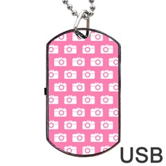 Pink Modern Chic Vector Camera Illustration Pattern Dog Tag Usb Flash (two Sides)  by creativemom