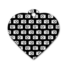 Modern Chic Vector Camera Illustration Pattern Dog Tag Heart (two Sides) by creativemom
