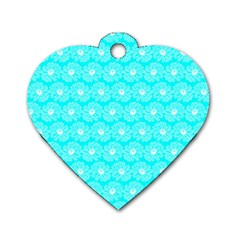 Gerbera Daisy Vector Tile Pattern Dog Tag Heart (one Side) by creativemom