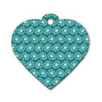 Gerbera Daisy Vector Tile Pattern Dog Tag Heart (One Side)