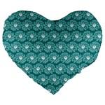 Gerbera Daisy Vector Tile Pattern Large 19  Premium Flano Heart Shape Cushions