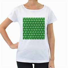 Gerbera Daisy Vector Tile Pattern Women s Loose-Fit T-Shirt (White) by creativemom