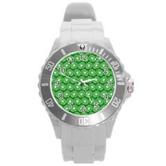 Gerbera Daisy Vector Tile Pattern Round Plastic Sport Watch (l) by creativemom