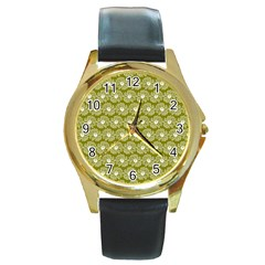 Gerbera Daisy Vector Tile Pattern Round Gold Metal Watches by creativemom