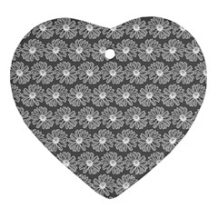 Gerbera Daisy Vector Tile Pattern Heart Ornament (2 Sides) by creativemom