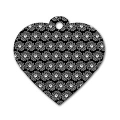 Black And White Gerbera Daisy Vector Tile Pattern Dog Tag Heart (two Sides) by creativemom