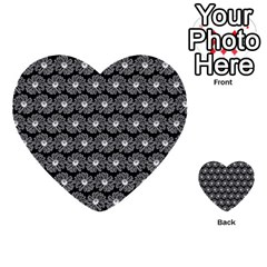 Black And White Gerbera Daisy Vector Tile Pattern Multi Purpose Cards (heart)  by creativemom