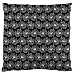 Black And White Gerbera Daisy Vector Tile Pattern Large Cushion Cases (two Sides)  by creativemom
