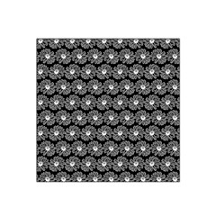 Black And White Gerbera Daisy Vector Tile Pattern Satin Bandana Scarf