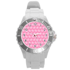 Pink Gerbera Daisy Vector Tile Pattern Round Plastic Sport Watch (l) by creativemom
