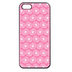 Pink Gerbera Daisy Vector Tile Pattern Apple Iphone 5 Seamless Case (black) by creativemom