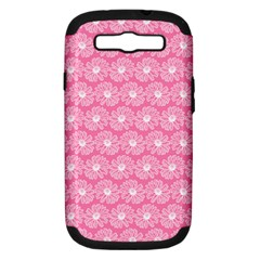 Pink Gerbera Daisy Vector Tile Pattern Samsung Galaxy S Iii Hardshell Case (pc+silicone) by creativemom