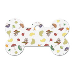 Mushrooms Pattern Dog Tag Bone (two Sides) by Famous