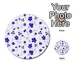 Sweet Shiny Flora Blue Multi Purpose Cards (round)  by ImpressiveMoments
