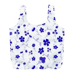 Sweet Shiny Flora Blue Full Print Recycle Bags (l)  by ImpressiveMoments