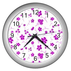 Sweet Shiny Floral Pink Wall Clocks (silver)  by ImpressiveMoments
