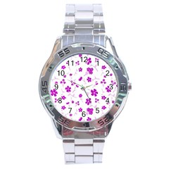 Sweet Shiny Floral Pink Stainless Steel Men s Watch
