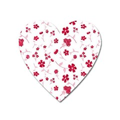 Sweet Shiny Floral Red Heart Magnet