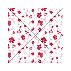 Sweet Shiny Floral Red Acrylic Tangram Puzzle (6  X 6 ) by ImpressiveMoments