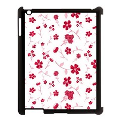 Sweet Shiny Floral Red Apple Ipad 3/4 Case (black) by ImpressiveMoments