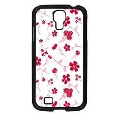 Sweet Shiny Floral Red Samsung Galaxy S4 I9500/ I9505 Case (black) by ImpressiveMoments