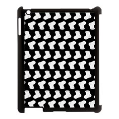 Black And White Cute Baby Socks Illustration Pattern Apple iPad 3/4 Case (Black) by creativemom