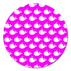 Cute Whale Illustration Pattern Magnet 5  (Round) by creativemom