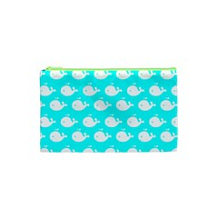 Cute Whale Illustration Pattern Cosmetic Bag (XS) by creativemom