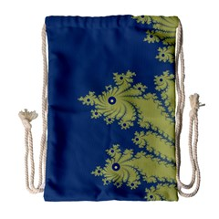 Blue And Green Design Drawstring Bag (large) by theunrulyartist