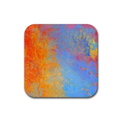 Hot And Cold Rubber Coaster (square)  by theunrulyartist