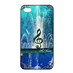 Clef With Water Splash And Floral Elements Apple Iphone 4/4s Seamless Case (black) by FantasyWorld7