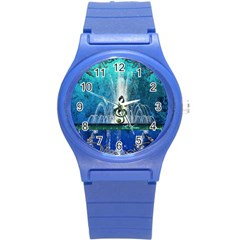 Clef With Water Splash And Floral Elements Round Plastic Sport Watch (s) by FantasyWorld7
