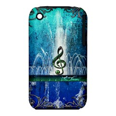 Clef With Water Splash And Floral Elements Apple Iphone 3g/3gs Hardshell Case (pc+silicone) by FantasyWorld7