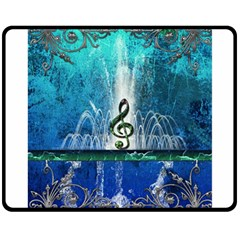 Clef With Water Splash And Floral Elements Double Sided Fleece Blanket (medium)  by FantasyWorld7