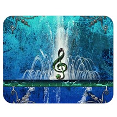 Clef With Water Splash And Floral Elements Double Sided Flano Blanket (medium)  by FantasyWorld7