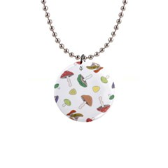 Mushrooms Pattern 02 Button Necklaces by Famous
