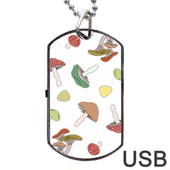 Mushrooms Pattern 02 Dog Tag Usb Flash (two Sides)  by Famous