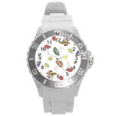Mushrooms Pattern 02 Round Plastic Sport Watch (l) by Famous