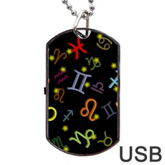 All Floating Zodiac Signs Dog Tag Usb Flash (two Sides)  by theimagezone