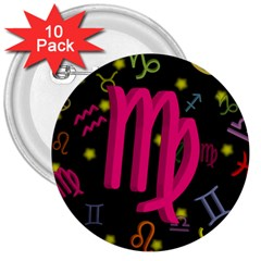 Virgo Floating Zodiac Sign 3  Buttons (10 Pack)  by theimagezone