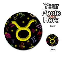 Taurus Floating Zodiac Sign Multi Purpose Cards (round)  by theimagezone